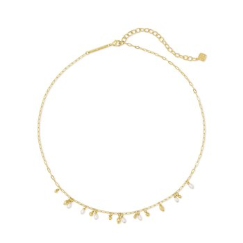 Mollie Choker Necklace Gold White Pearl