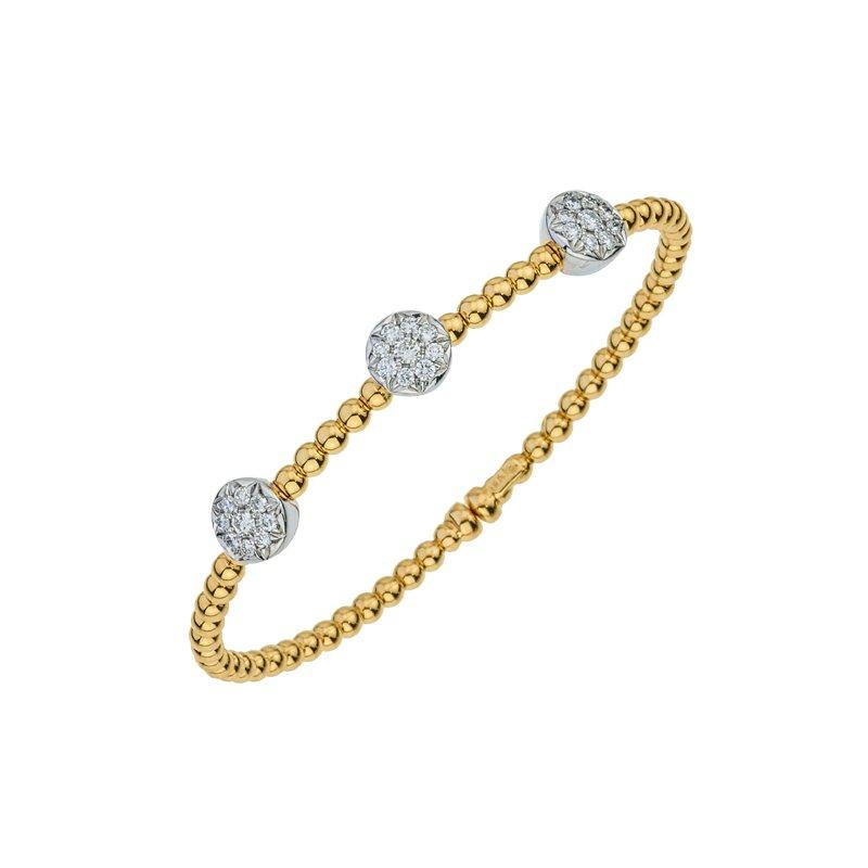 DA Gold Three Cluster Diamond Beaded Bracelet