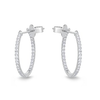Classic Oval Diamond Hoops