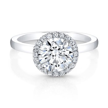 Modern Diamond Round Halo Engagement Ring