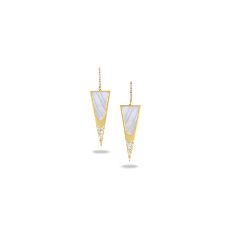 Doves Linea Grey Agate Earrings