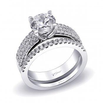 Three Row Diamond Engagement Ring