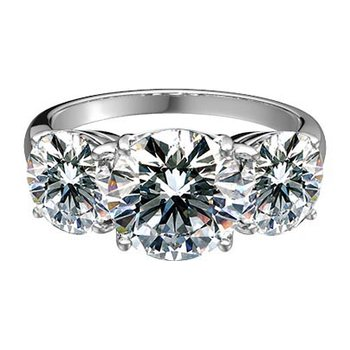 Pinched-Shoulder Round Diamond Three-Stone Ring