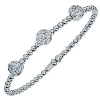 Three Cluster Diamond Beaded Bracelet