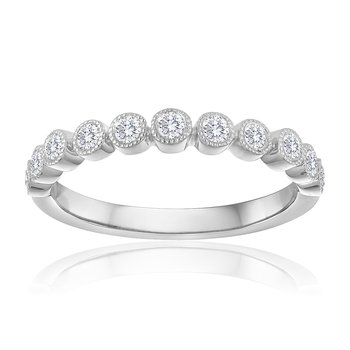 Round Diamond Pave Milgrain Stacking Band