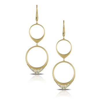Diamond Fashion Gold Two-Tier Earrings