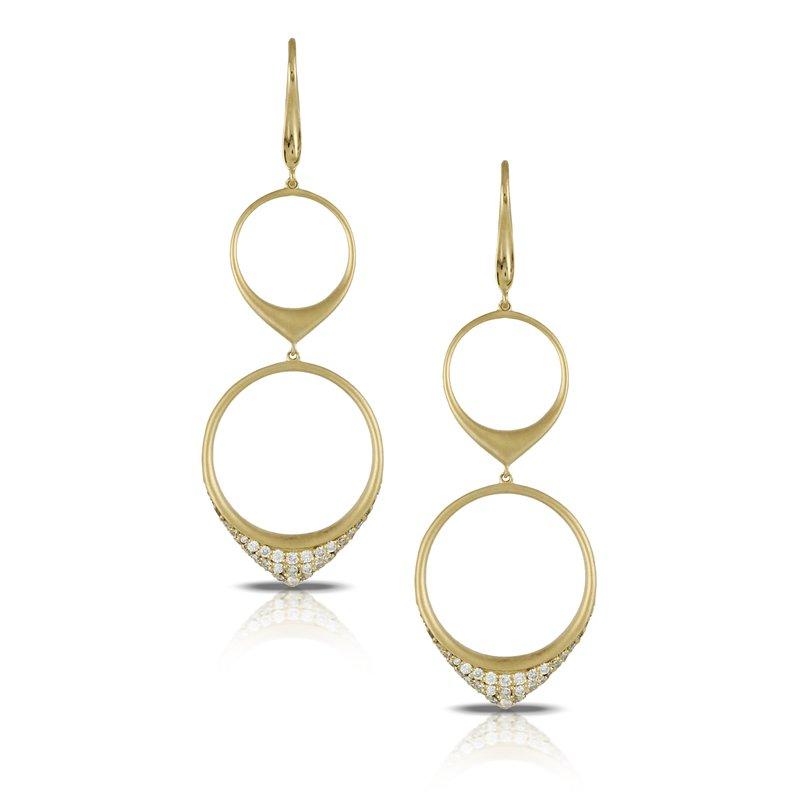Doves Diamond Fashion Gold Two-Tier Earrings