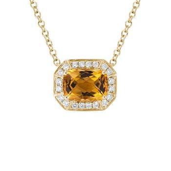 Citrine and Diamond Halo Necklace