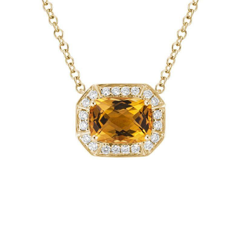 Artistry Limited Citrine and Diamond Halo Necklace
