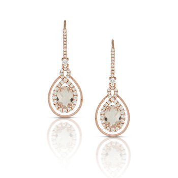 Pink Morganite Twist Drop Earrings