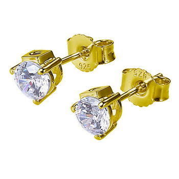 Silver CZ Stud Earrings - Yellow