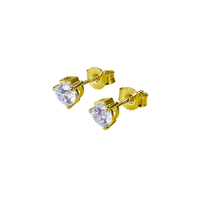 ELLE Boutique Silver CZ Stud Earrings - Yellow