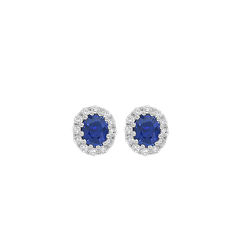 Oval Halo Sapphire Stud Earrings