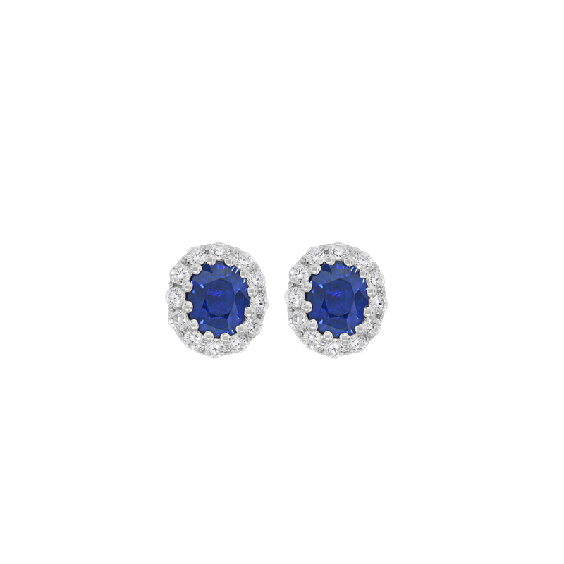 Spark Creations Oval Halo Sapphire Stud Earrings