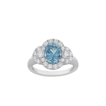 Aquamarine and Diamond Three-Stone Ring