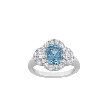 Aquamarine and Diamond Three-Stone Ring