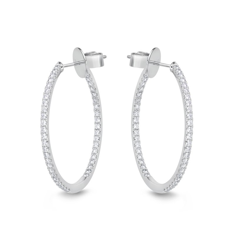 Memoire Classic Oval Diamond Hoops