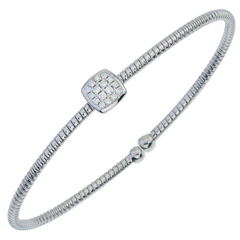 DA Gold Center Diamond Cluster Cuff Bracelet