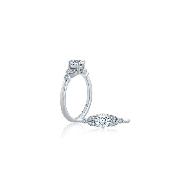 A. Jaffe Floral Milgrain Accent Engagement Ring
