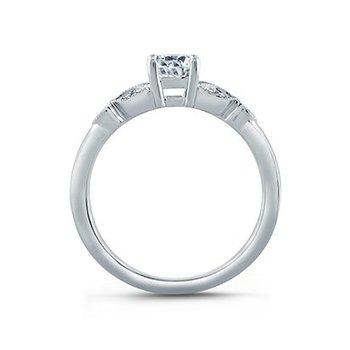 Floral Milgrain Accent Engagement Ring