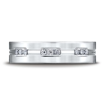 Gents palladium diamond wedding band