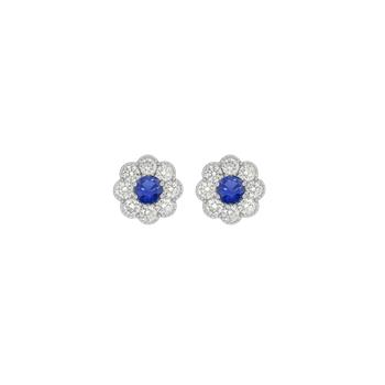 Floral Cluster Sapphire Stud Earrings
