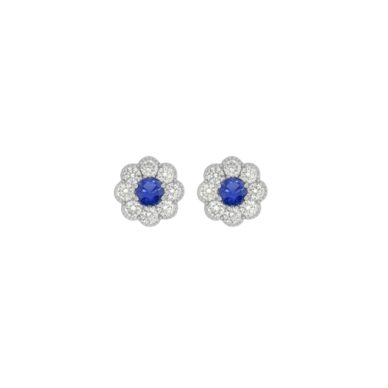 Spark Creations Floral Cluster Sapphire Stud Earrings