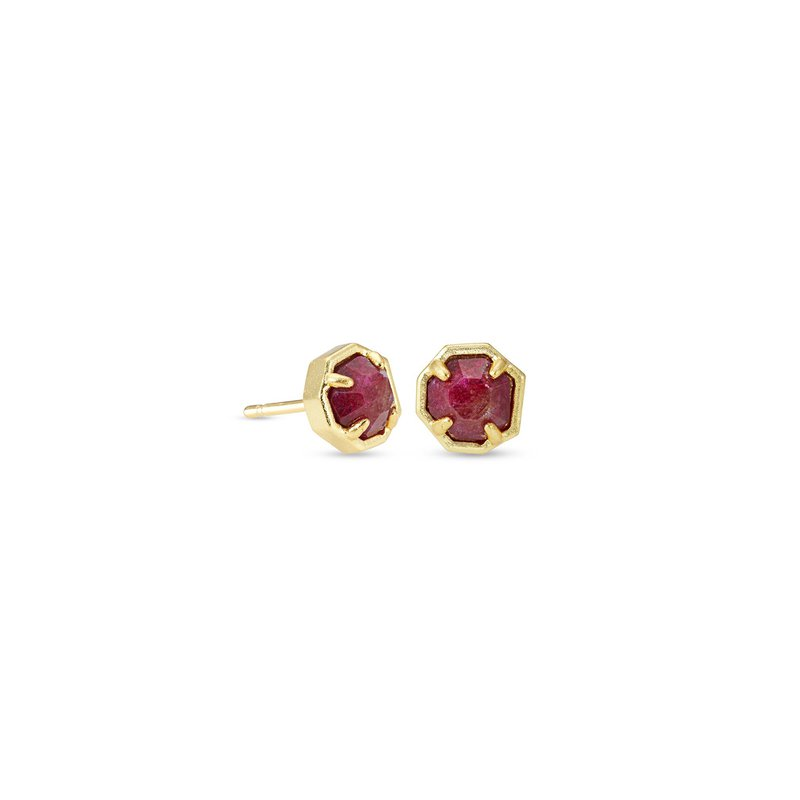 Kendra Scott Nola Gold Stud Earrings In Raspberry Labradorite