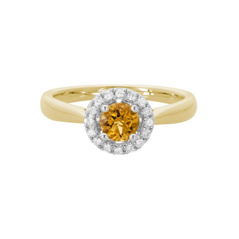 Artistry Limited Citrine and Diamond Halo Ring