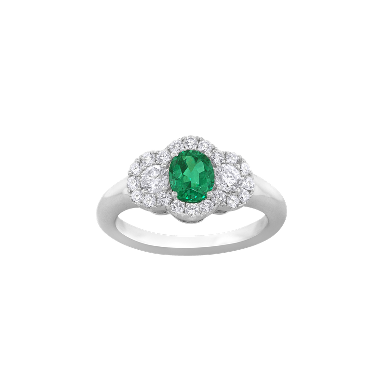 Spark Creations Emerald and Diamond Three-Stone Ring