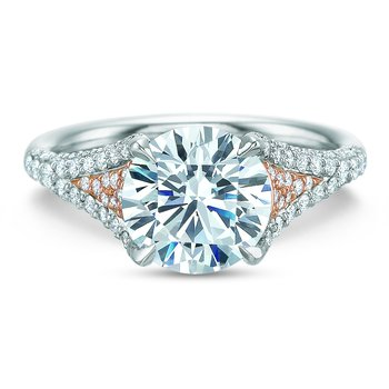 Extraordinary Rose Accented Engagement Ring