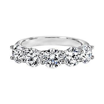 """Round Diamond """"Trellis"""" Five-Stone Ring"""