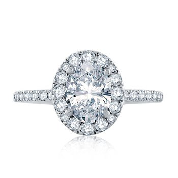 Oval Halo Engagement Ring with Belted Gallery Detail