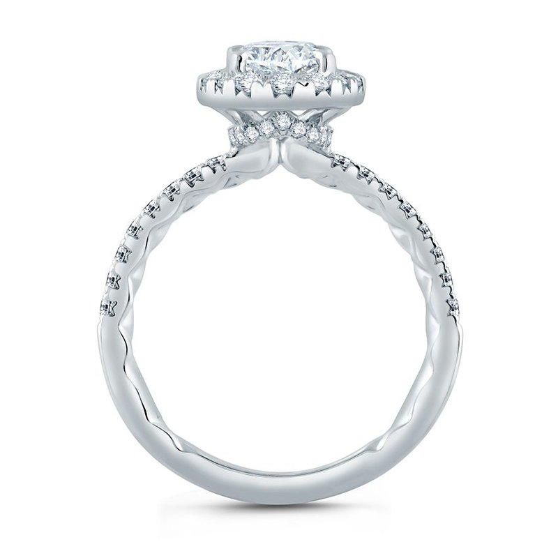 A. Jaffe Oval Halo Engagement Ring with Belted Gallery Detail