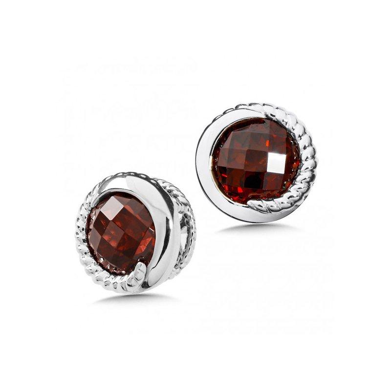Colore SG Garnet Stud Earrings