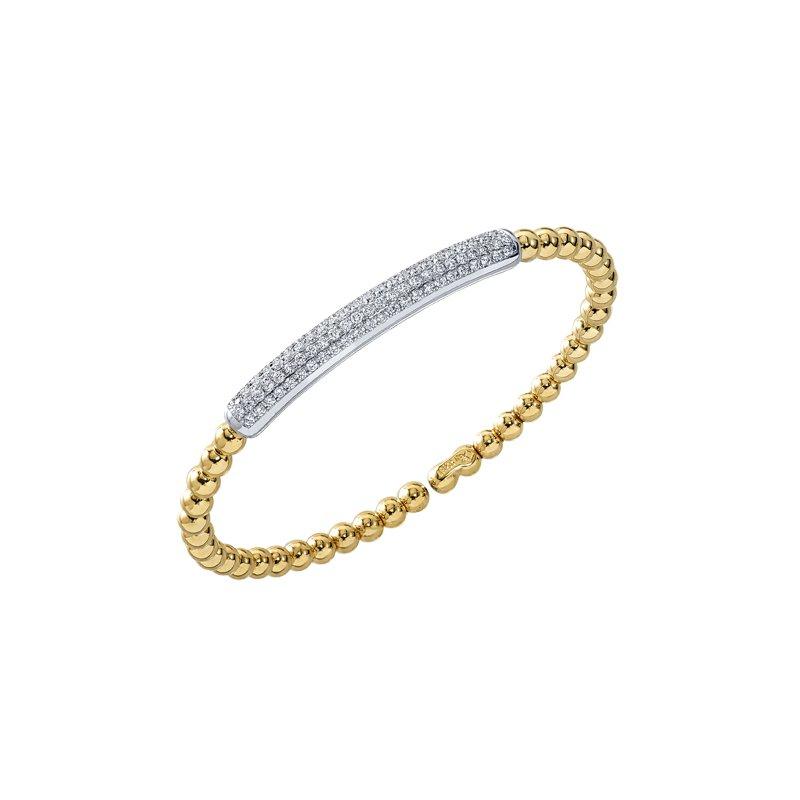 DA Gold Four Row Pave Set Cuff Bracelet