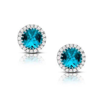 London Blue Topaz Halo Earrings