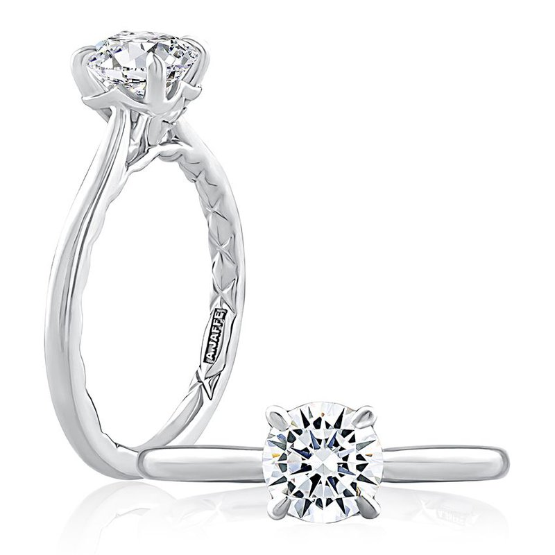 A. Jaffe Diamond Solitaire with Diamond Accented Undergallery