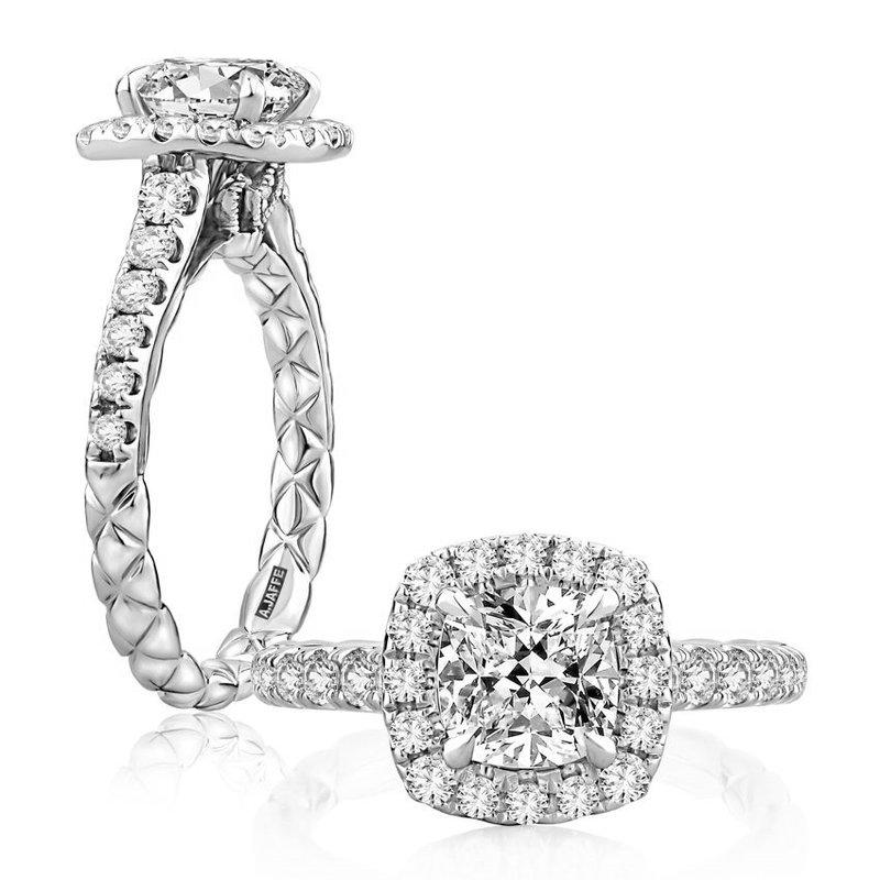 A. Jaffe Cushion Cut Halo Diamond Engagement Ring