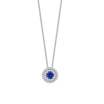 Double Halo Diamond and Sapphire Pendant