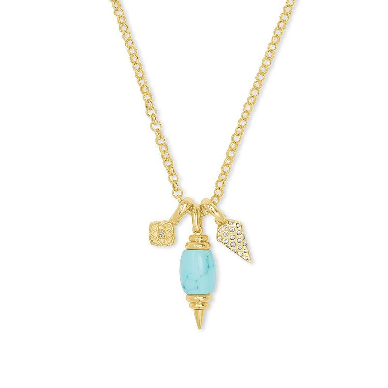 Kendra Scott Demi Charm Necklace in Gold Light Blue Magnesite