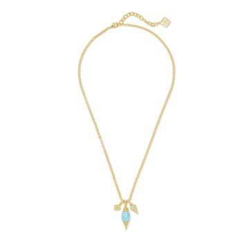 Demi Charm Necklace in Gold Light Blue Magnesite