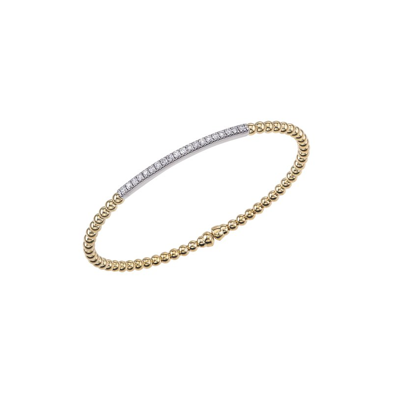 DA Gold Diamond Bar Cuff Bracelet