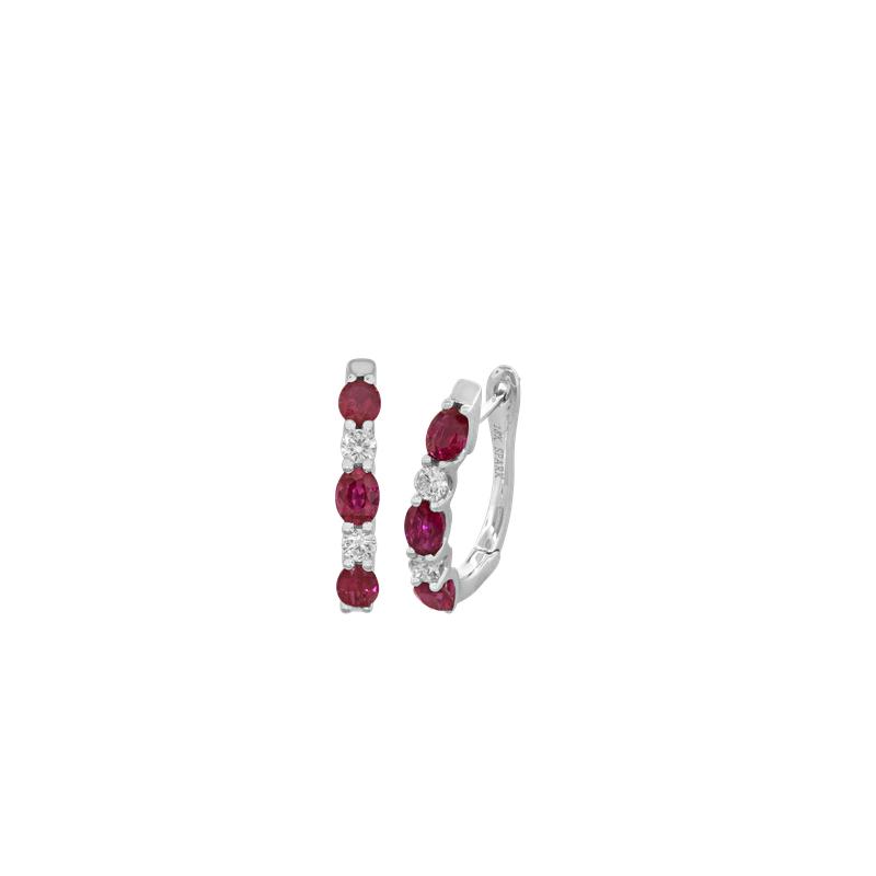 Spark Creations Ruby and Diamond Hoop Earrings