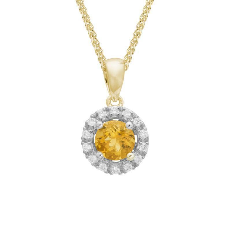 Artistry Limited Citrine and Diamond Halo Pendant