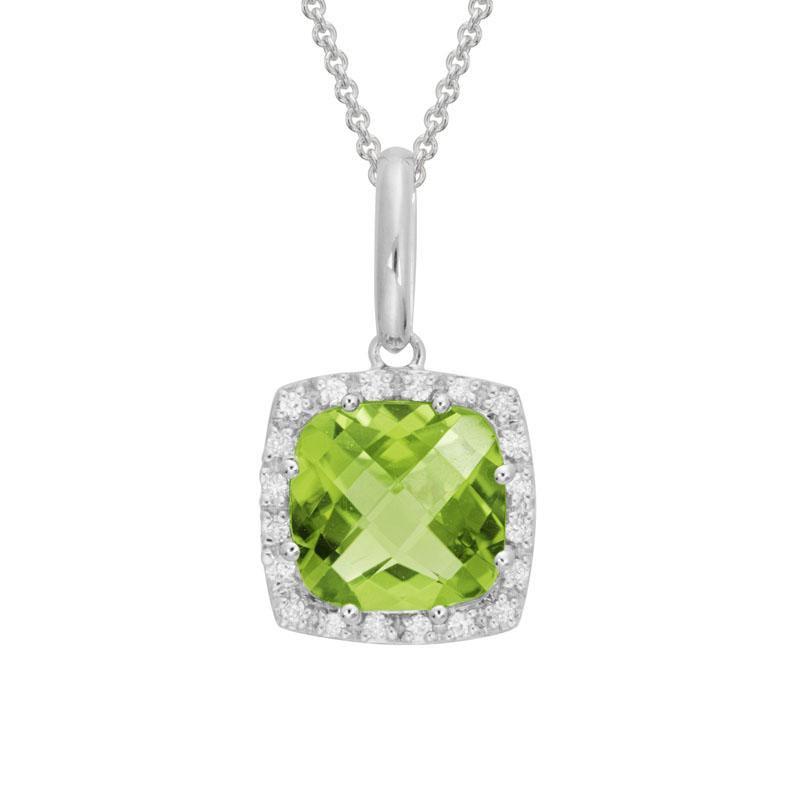 Artistry Limited Peridot and Diamond Halo Pendant