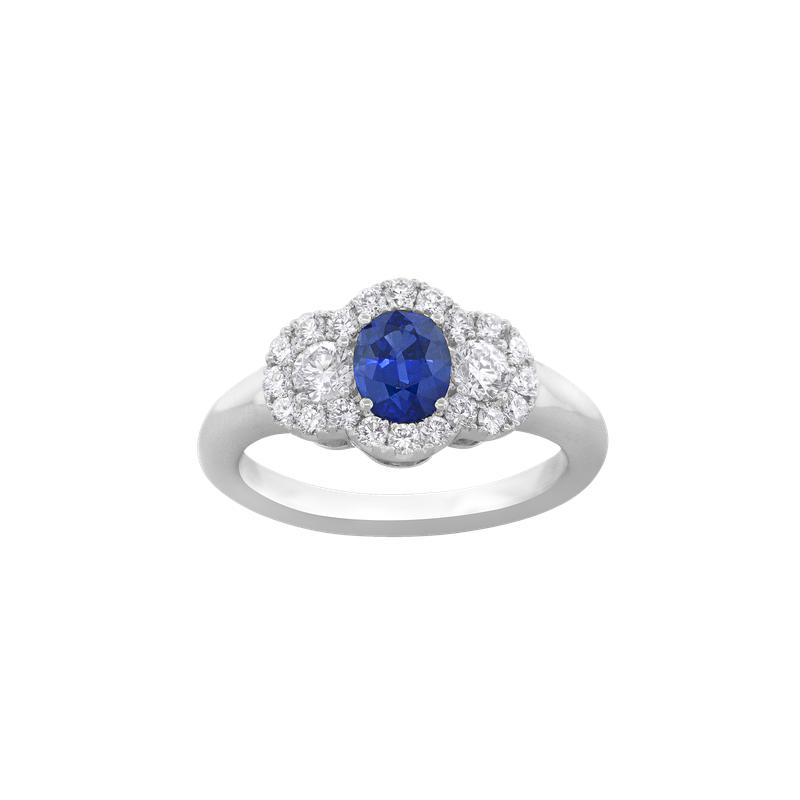 Spark Creations Sapphire and Diamond Three-Stone Ring