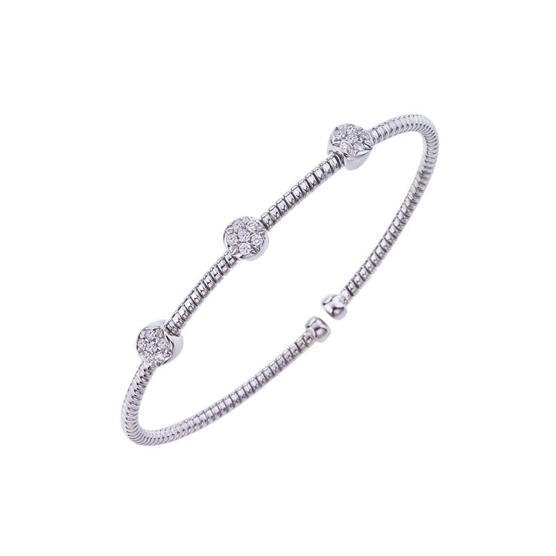 DA Gold Round Diamond Cluster Cuff Bracelet