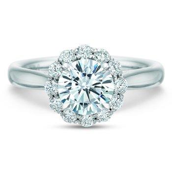 Flush Fit Round Diamond Halo Engagement Ring