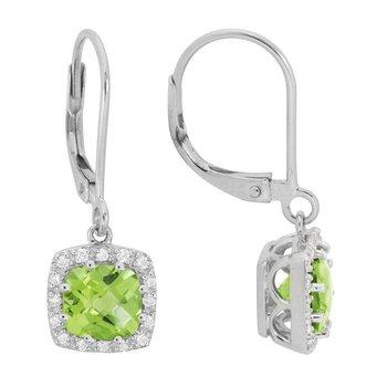 Peridot and Diamond Halo Dangle Earrings